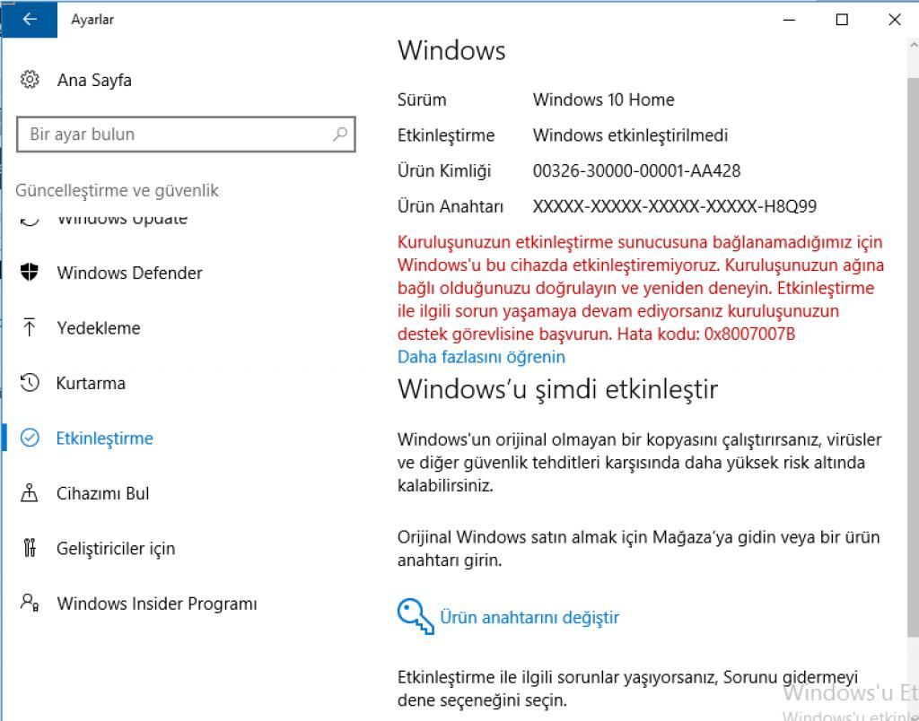 Windows 10 ETKİNLEŞTİR