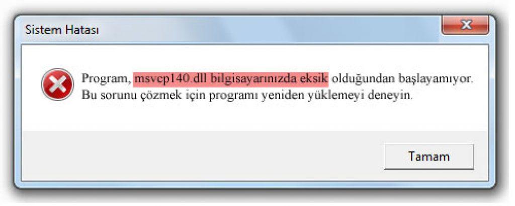 msvcp140-dll hatası ve çözümü